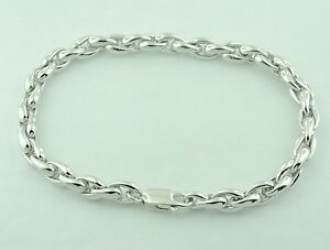 Image Is Loading 18k Solid White Gold Mens Bracelet 8 Inches