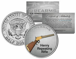 HENRY-REPEATING-RIFLE-Gun-Firearm-JFK-Kennedy-Half-Dollar-US-Colorized-Coin