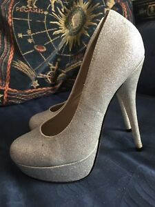 9272faaeac3 Image is loading Fab-Silver-Glitter-Super-Platform-Shoes-Size-5-
