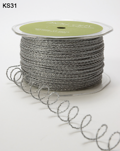 Wired Colored String Ribbon - May Arts - Silver Ks31 - 5 Yds