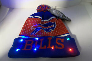Buffalo Bills Knit NFL LED Light Up Hat Winter Pom Beanie Knit ... 340a84ed1