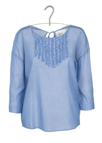 £ L Ruffle Leon Harper 84 S O Blue Cake 'denim' Blouse Cotton m 1qPwqfxv
