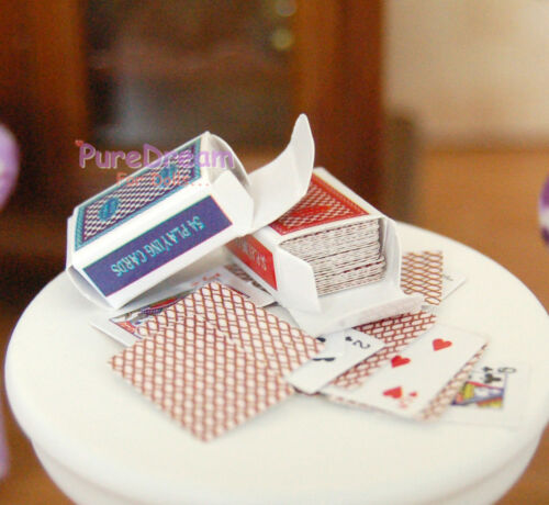 Dollhouse Miniature Game Poker Card 2 Sets Paper Print Clearly   OB030B