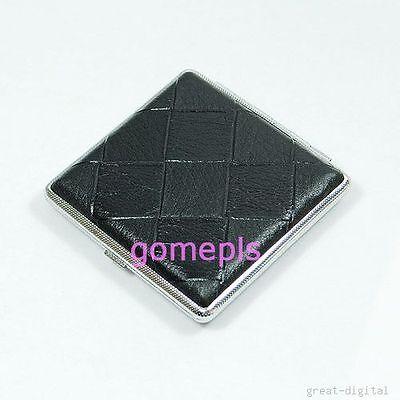 Hot Fashion Black Leather 20 Cigarette Box Hard Case Metal Holder New
