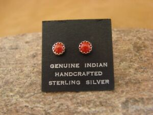 Native-American-Sterling-Silver-Coral-Dot-Post-Baby-Earrings-Navajo-Indian