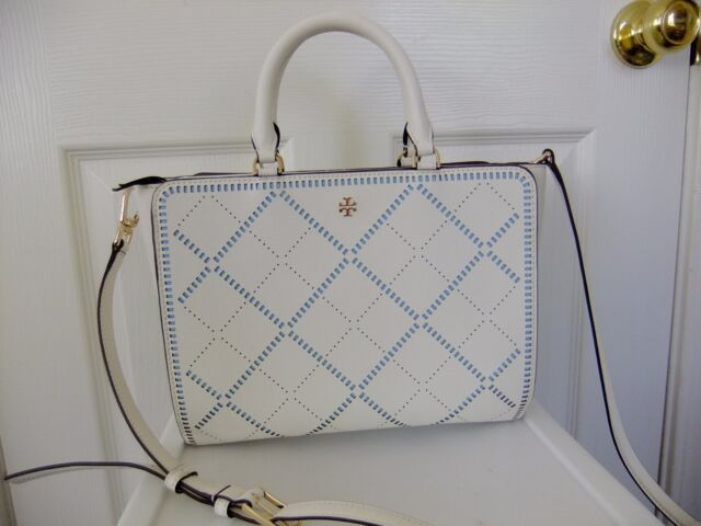 72507188dbf Auth Tory Burch Robinson Crosshatch Zip Tote Bag in Ivory for sale ...