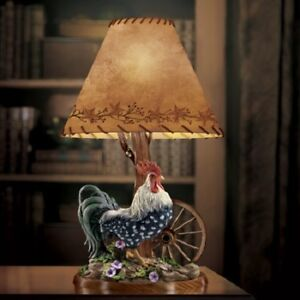 Image Is Loading Morning Glory Rooster Table Lamp Bradford Exchange WE