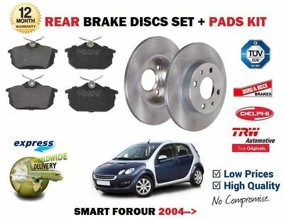 Brake Discs Axle Set 250mm Solid Fits Smart Forfour 1.5 CDi Rear Brake Pads