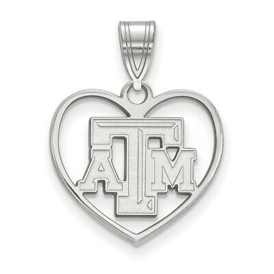 White Sterling Silver Charm Pendant Red Texas NCAA A/&M University 24 mm 16