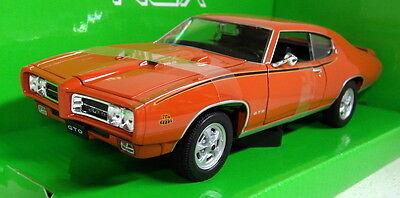 modello di auto 1:24//Welly Pontiac GTO 1969 arancione