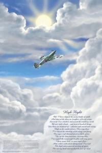 Details About Poster High Flight Poem John Gillespie Magee Jr Wwii War Poetry Spitfire
