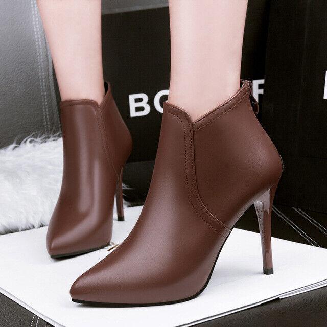 botas stivaletti tronchetto stiletto 10 cm marrón comodo pelle sintetica 8238