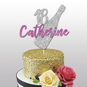 Image Is Loading 18th CUSTOM NAME GLITTER CAKE TOPPER 18TH BIRTHDAY