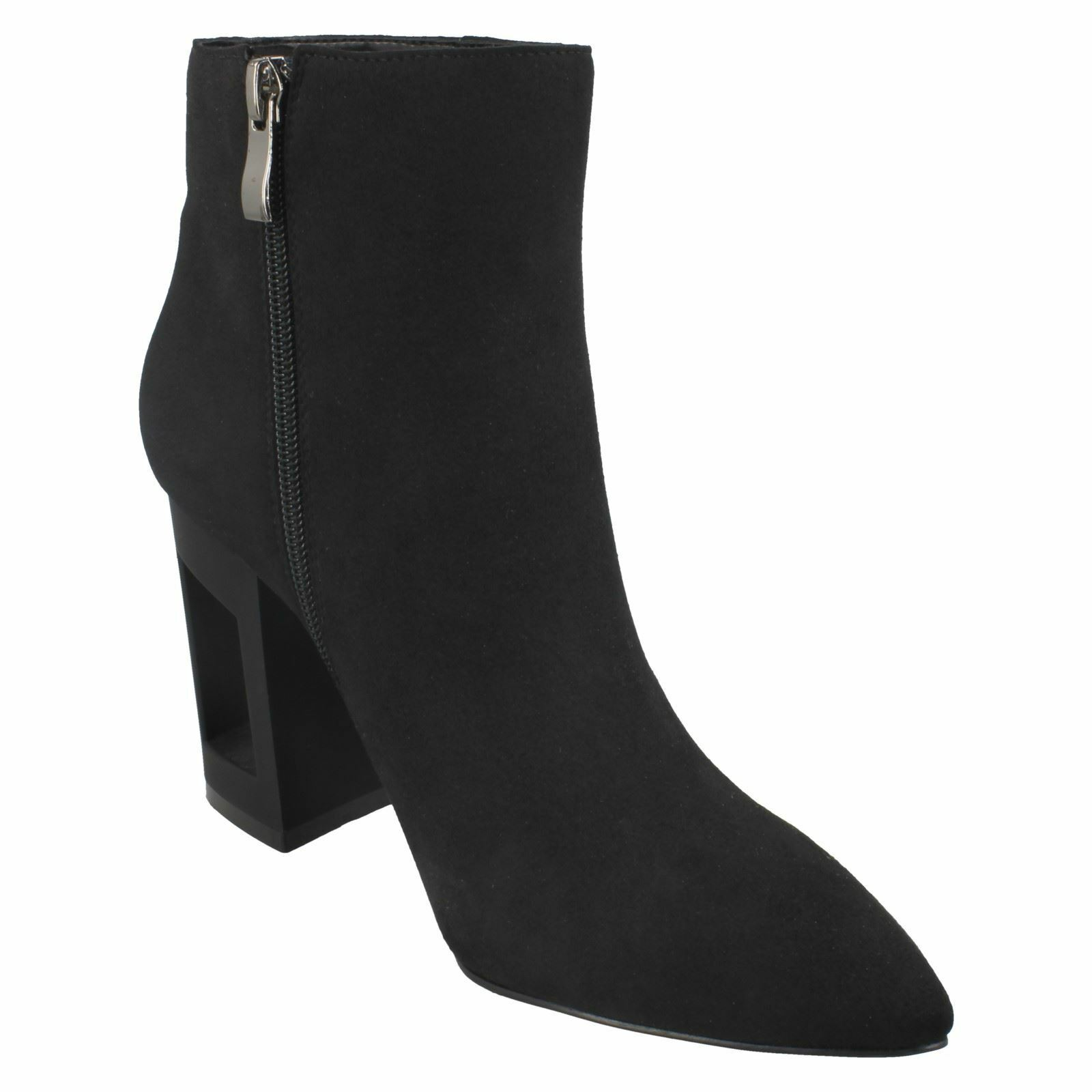 F5R0887 SPOT ON LADIES POINTED TOE ZIP UP WINTER ANKLE BLACK SMART HEELED ANKLE WINTER Stiefel 1dee2b