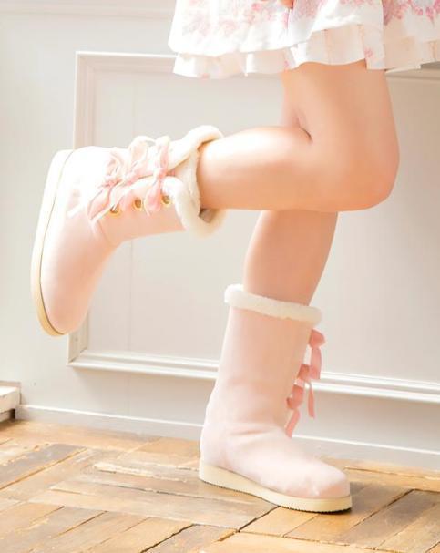 LIZ LISA - Velour Ribbon Mouton Boots ( kawaii lolita japan pink )