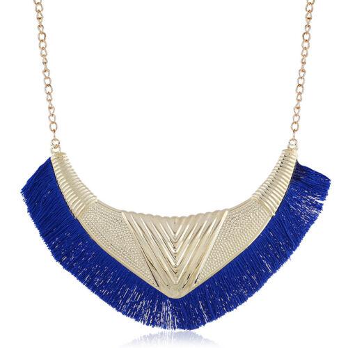 Boho Womens Crystal Flower Necklace Choker Statement Bib Pendant Chain Jewelry
