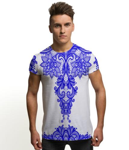 Dentelle bleue mode imprimé all over vintage vacances d/'été homme T Shirt