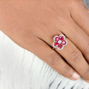 2-66-Ct-Ruby-Diamond-Pave-Flower-Ring-Solid-14K-Yellow-Gold-Handmade-Jewelry-NEW