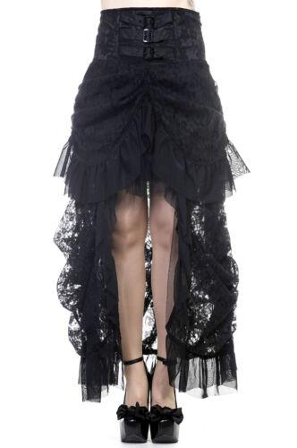 Banned Steampunk Rock Brokat Spitze Gothic Lolita Schwarz Rüschen Skirt SBN201