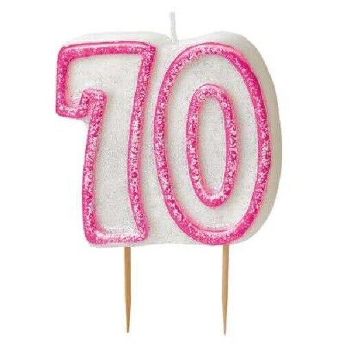8cm Pink Glitz Number 70 Candle Ladies 70th Birthday Party Cake Decoration Girls