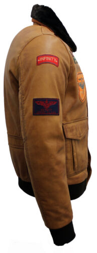 Herren Hellbraun Nappa Leder Kampfflugzeug Jacke mit Abnehmbarer Kragen