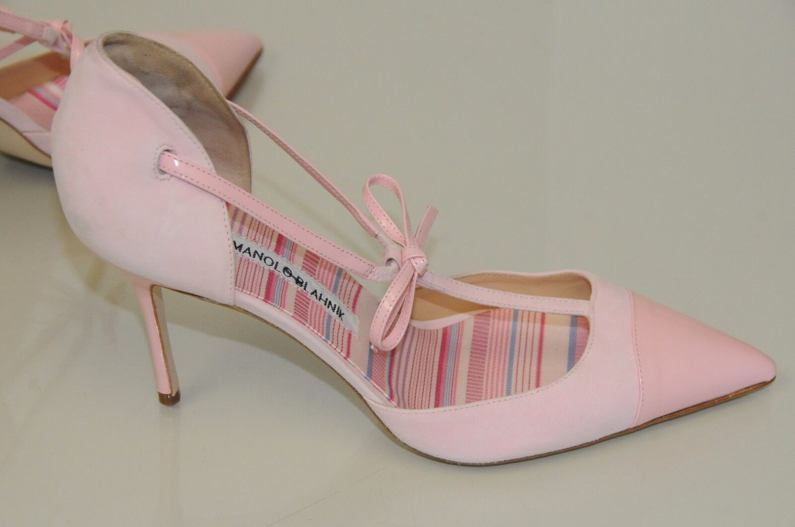 865 Rosa New Manolo Blahnik PARIGATAMA Pale Rosa 865 Leather T Strap schuhe 40.5 41 41.5 7de0e3
