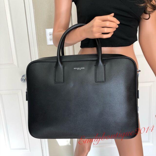 e1df36005ee3 Michael Kors Mens Warren Large Briefcase Black Leather Tote Shoulder ...