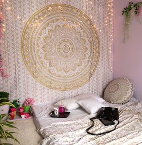 Tapiz mandala Oro Y Blanco Colgante De pared Hippie Algodón Colcha Decoración del hogar