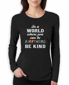 Be Kind - Autism Awareness Women Long Sleeve T-Shirt Support The Cause