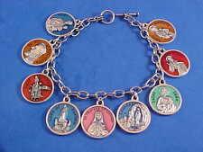 ENAMEL Religious Catholic Saint Medal Charm Bracelet Lot PRAYERS Stainless Steel