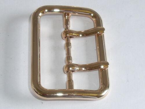 Doppel-Dorn Gürtelschnalle Schließe Schnalle  5 cm gold NEU rostfrei 0467