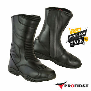 New-Waterproof-Motorcycle-Touring-Leather-Shoes-Motorbike-Racing-Armoured-Boots