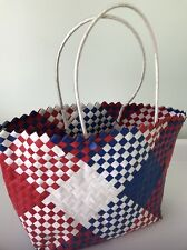 HomeShapes Hand Woven Plastic Shopping -Beach Basket (Red White & Blue)