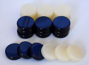 30-Small-Acrylic-Backgammon-Checkers-Chips-Blue-amp-Ivory-1-inch-High-Quality