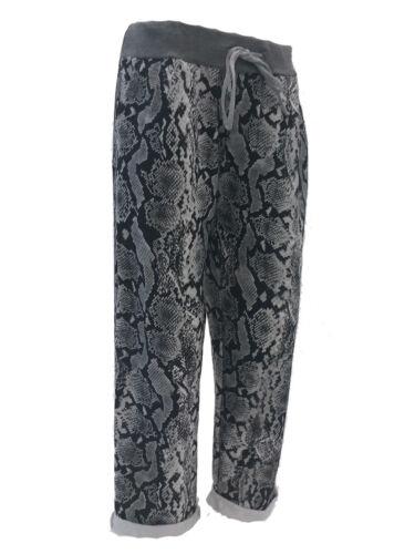 New Italian Ladies Women Elastic Waist Cotton Summer Trousers Joggers Plus Size