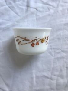 Vintage Pyrex White Milk Glass Harvest Home Golden Wheat Berries Small Bowl