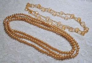 VINTAGE TO NOW PEACH COLOR LUCITE & FAUX PEARL BEADED LONG NECKLACE LOT