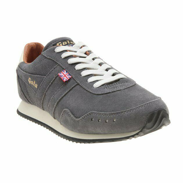 New Mens Gola grau Track Suede 317 Trainers Retro Lace Up
