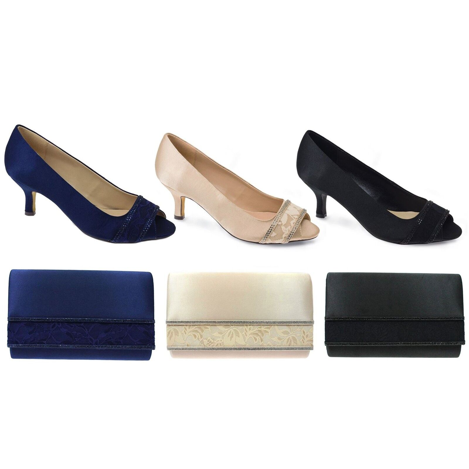 FLR419 Casely Damens's Peep Toe Smart Diamante Lace Court Heels Schuhes Clutch