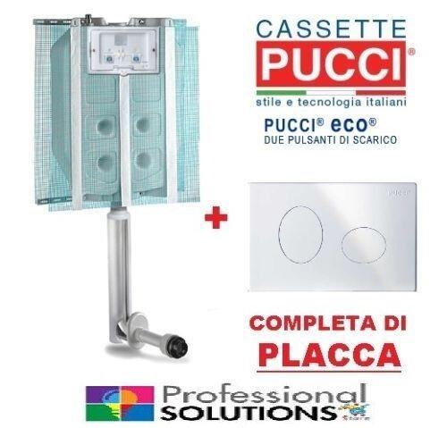 4l Placca Bianca Cromata Cassetta di scarico incasso Pucci SARA ECO 9l