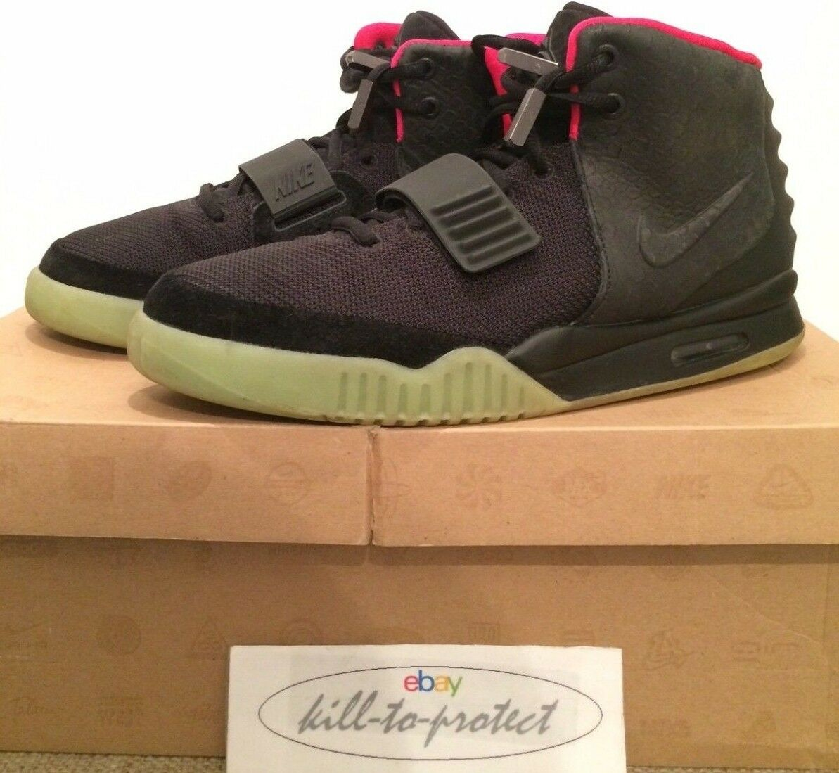 USED- NIKE AIR YEEZY 2 BLACK SOLAR RED Sz US9.5 UK8.5 KANYE WEST 508214-006 2012 Seasonal price cuts, discount benefits