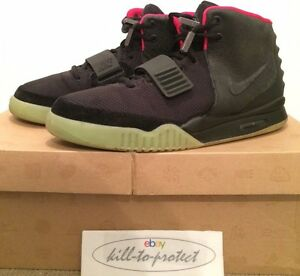 buy online 1b75e aec03 Image is loading USED-NIKE-AIR-YEEZY-2-BLACK-SOLAR-RED-