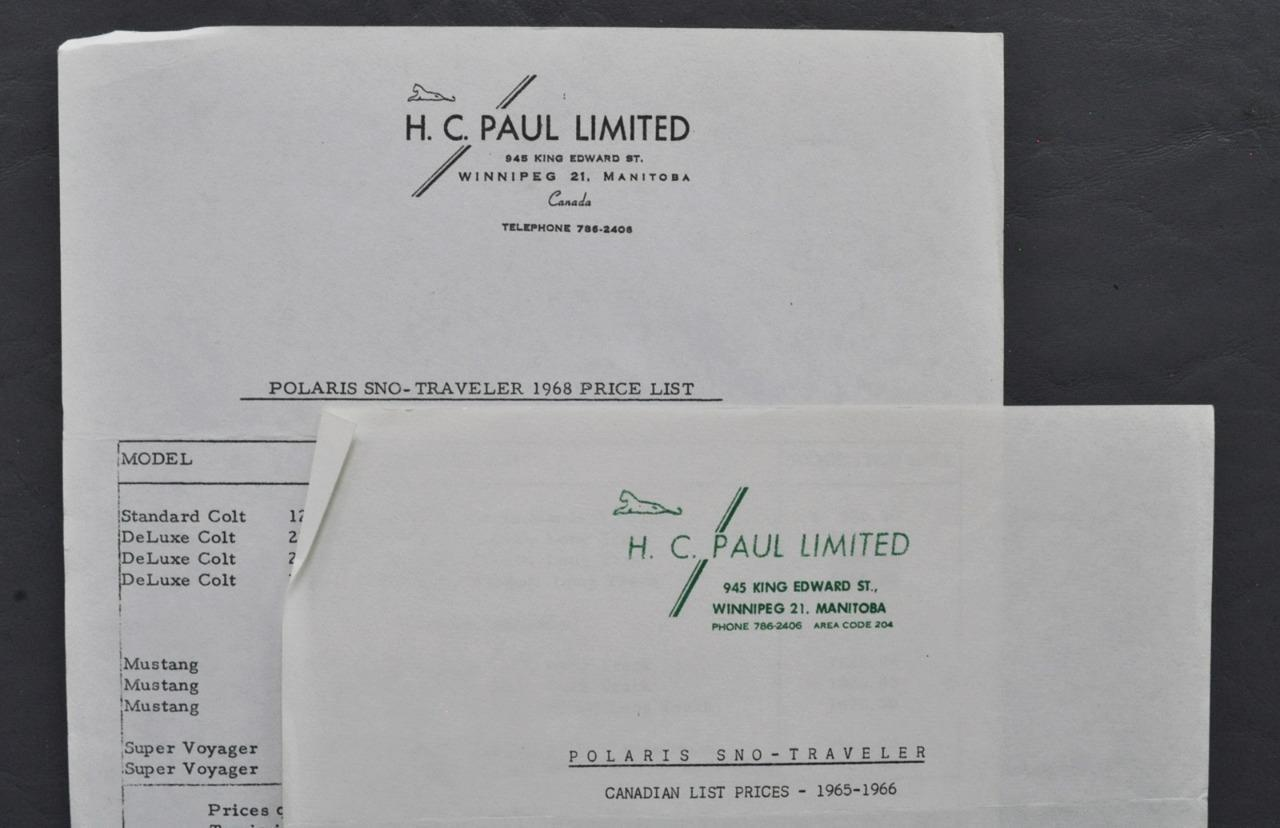 Orig Lot of 2 Dealer Price  Lists 1965 66 & 1968- Polaris Sno-Traveler Snowmobile  here has the latest