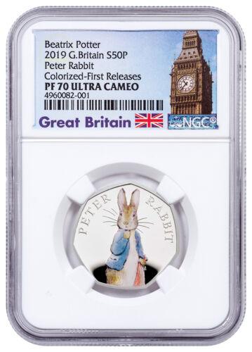 2019 Britain Beatrix Potter Peter Rabbit 8 g Silver 50p NGC PF70 UC FR SKU57829