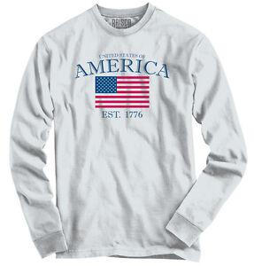 Stati-UNITI-D-039-AMERICA-USA-patriottico-regalo-a-maniche-lunghe-Tee-Camicie-T-shirt
