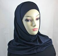 Two Piece Islamic Plain Solid Colors Amira Hijab Abaya Muslima Headscarf