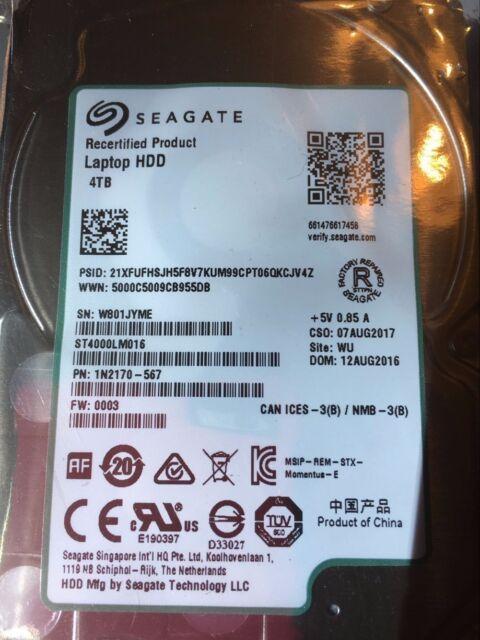 """Seagate ST4000LM016 4TB 128MB SATA 6.0Gb/s 15mm 2.5"""" Internal Hard Drive"""