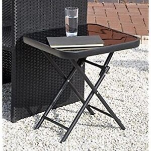 Square Side Table Small Snack Outdoor Garden Furniture Coffee Bistro Drinks