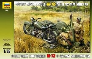 ZVEZDA 3651 - Soviet Motorcycle M-72 with 82-mm Mortar / Scale Model Kit 1/35