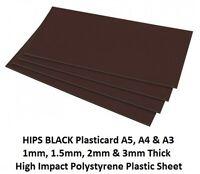 Black Plasticard Sheet High Impact Polystyrene HIPS A5 A4 A3 1, 1.5, 2 & 3mm Thk
